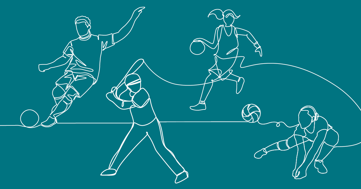 Line drawing of baseball players playing a game.