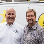 Larry Cate and Dan Mathias in front of Absolute Fire Protection van - thumbnail.