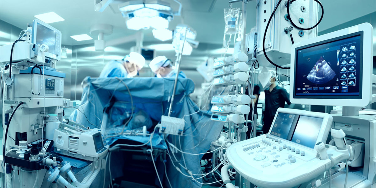 Ultrasound and other surgical technology in operating room.