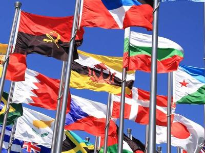 Flags from many nations.