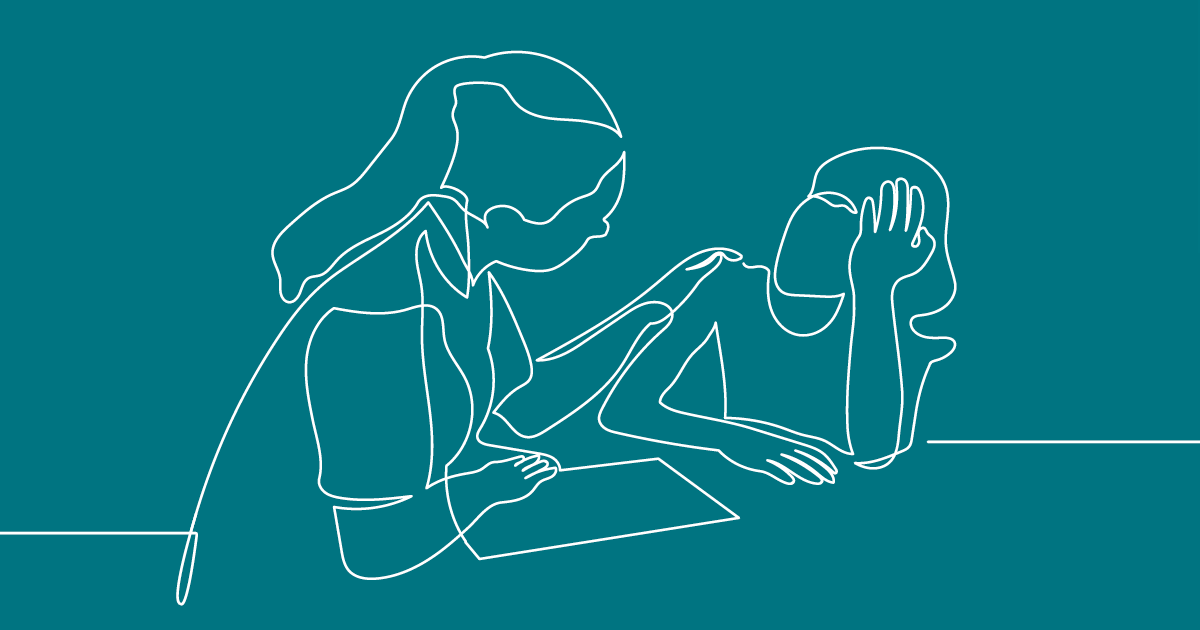Line drawing of teacher consoling student.
