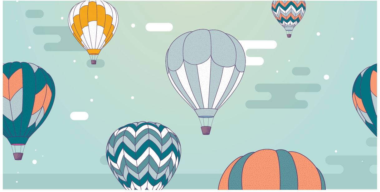 Hot air balloons float across teal background.
