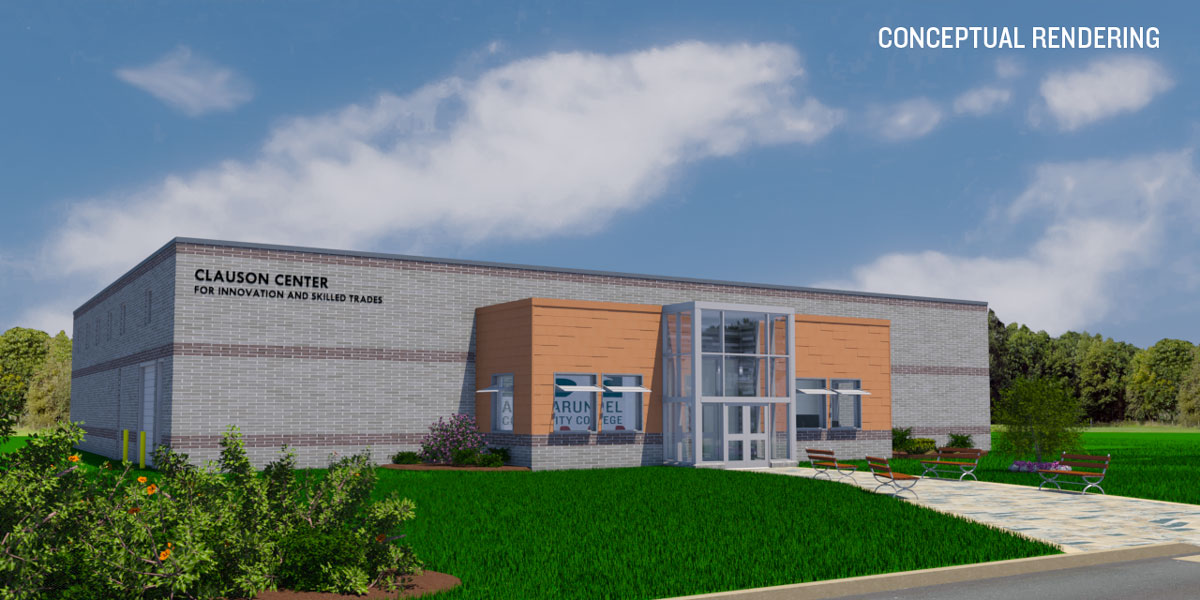 Image of the rendering of the Clauson Center.