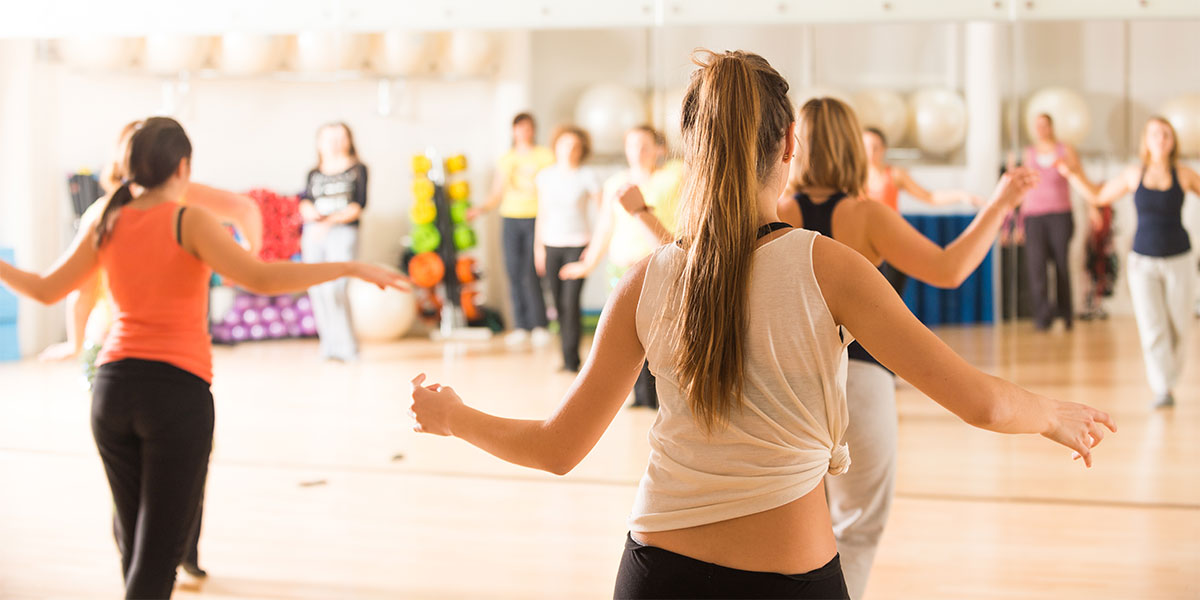 Stock image of a dance class.