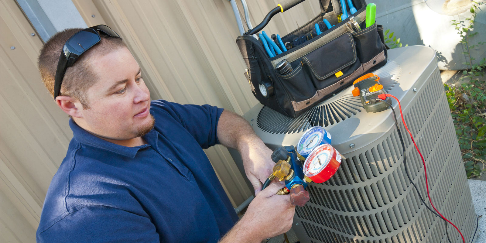 HVAC student works on hands on project