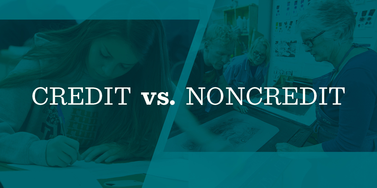 credit vs. noncredit classes graphic