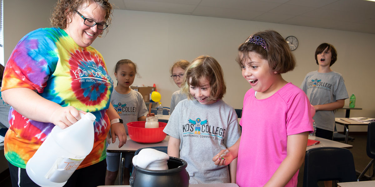 Kids in potion making Harry Potter camp.