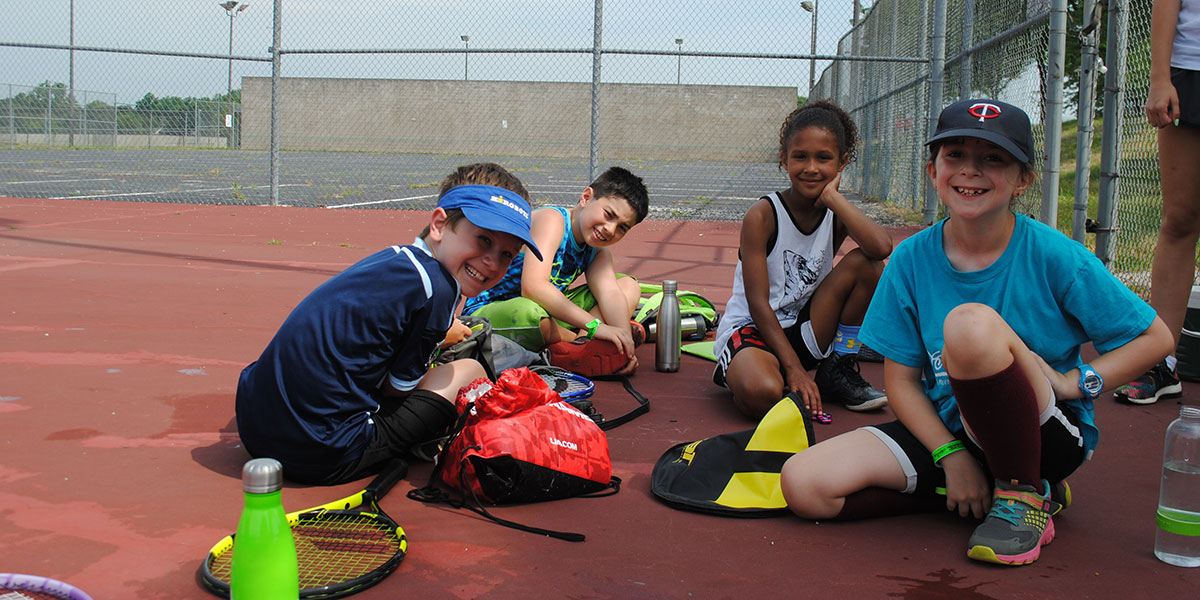 Kids in College tennis class