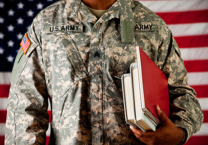 Soldier with school books