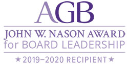Badge indicating AACC Board a 2019-2020 John W. Nason award recipient