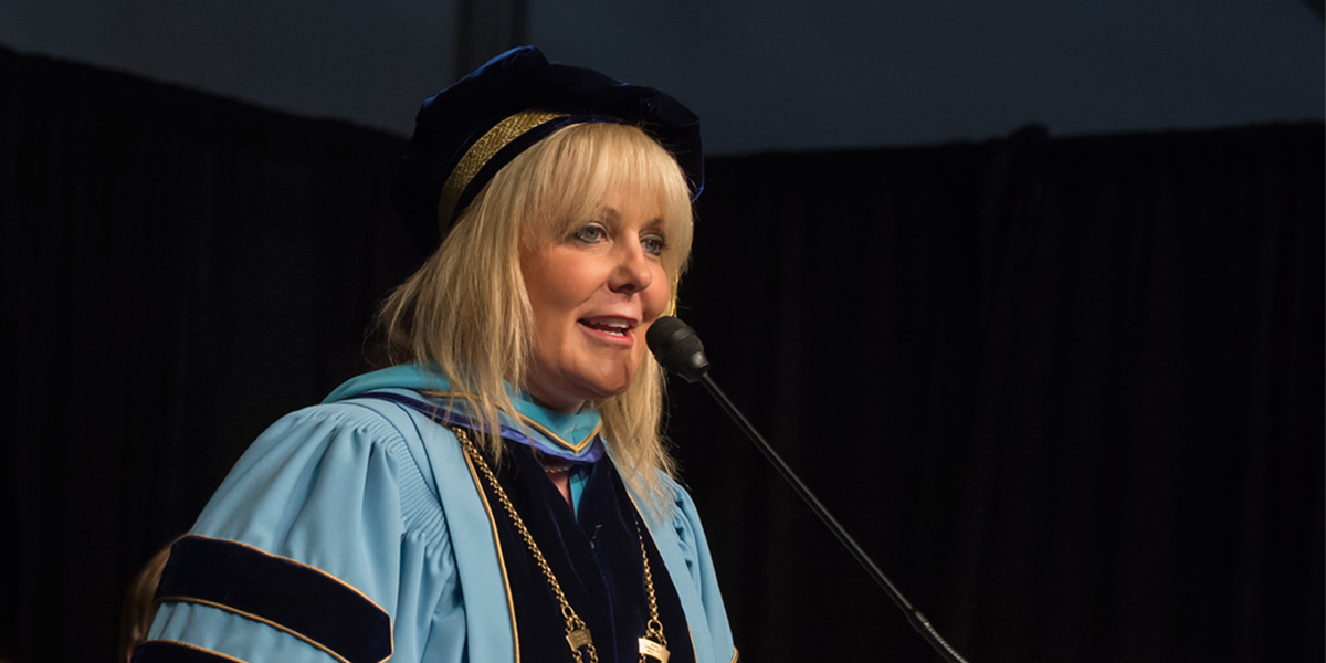 Dawn Lindsay speaking at Commencement